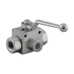 """Vanne manuelle - 3V - 3/8"""" - PN 500 - en L"""
