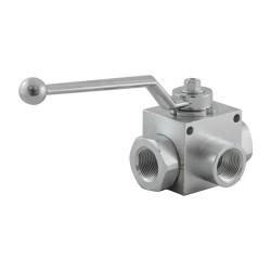 """Manual valve - 3V - 3/4"""" - PN 400 - in L"""