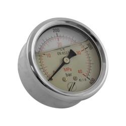 "Manomètre 0 à 400 bar - raccord arrière 1/4"" diamètre 63"