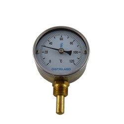 "Dial thermometer Ø80 0/120 ° C 1/2 ""vertical dipper 40mm"