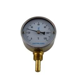 "Thermomètre à cadran Ø80 0/120°C 1/2"" plongeur vertical 40mm"