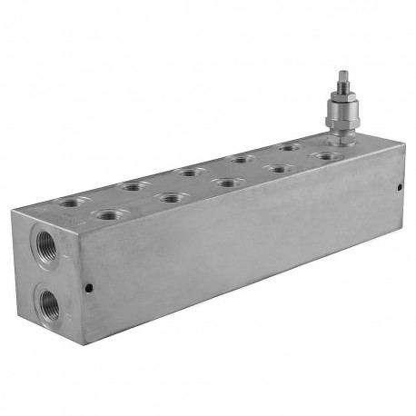 Embase cetop 3 5 éléments aluminium + Limiteur de pression 35/210 bar